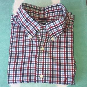 Nautica, long sleeve, plaid button down shirt.